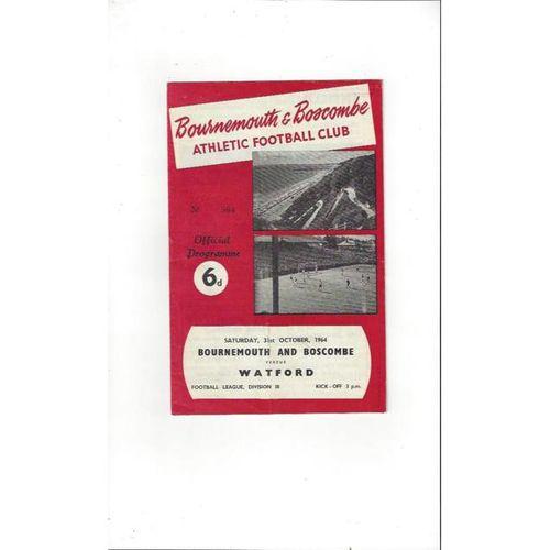 1964/65 Bournemouth v Watford Football Programme