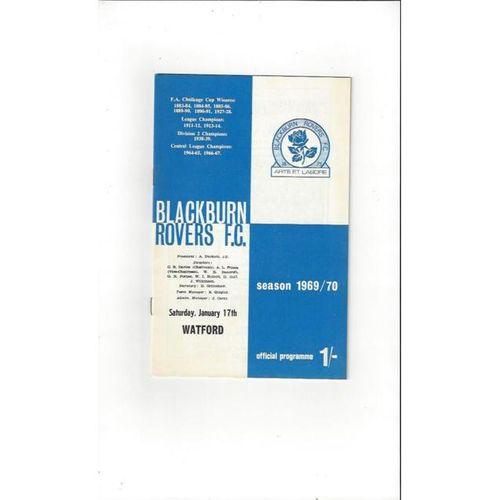 1969/70 Blackburn Rovers v Watford Football Programme
