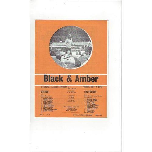 1974/75 Cambridge United v Southport Football Programme