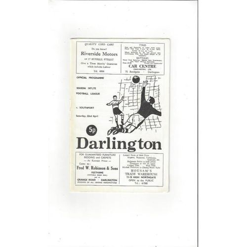 1971/72 Darlington v Southport Football Programme