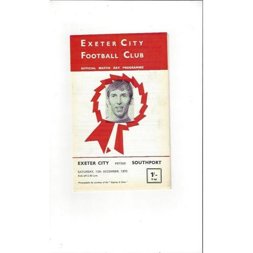 1970/71 Exeter City v Southport Football Programme