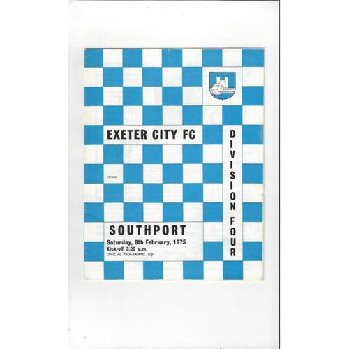 1974/75 Exeter City v Southport Football Programme