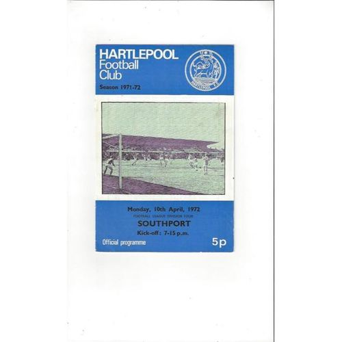 1971/72 Hartlepool United v Southport Football Programme