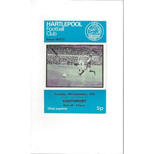 1972/73 Hartlepool United v Southport Football Programme