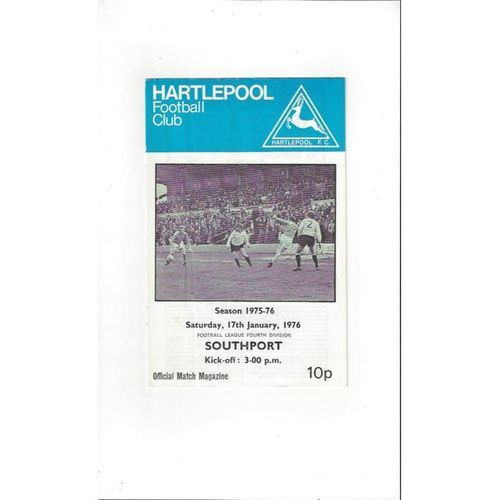 1975/76 Hartlepool United v Southport Football Programme