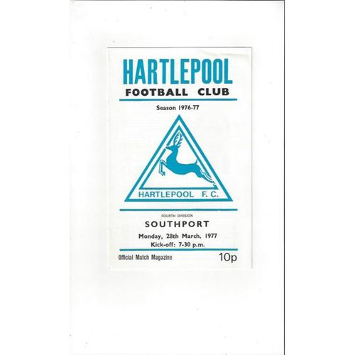1976/77 Hartlepool United v Southport Football Programme March