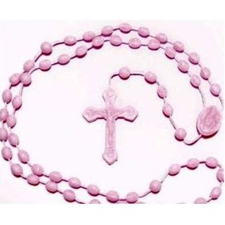Pink Plastic Rosary Beads