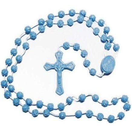 Blue Plastic Rosary Beads