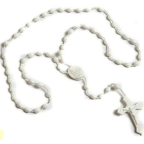 White Plastic Rosary Beads