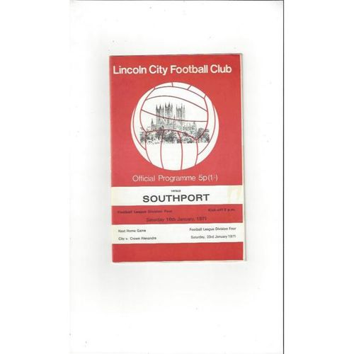 1970/71 Lincoln City v Southport Football Programme