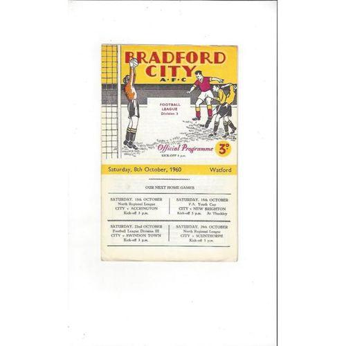 1960/61 Bradford City v Watford Football Programme