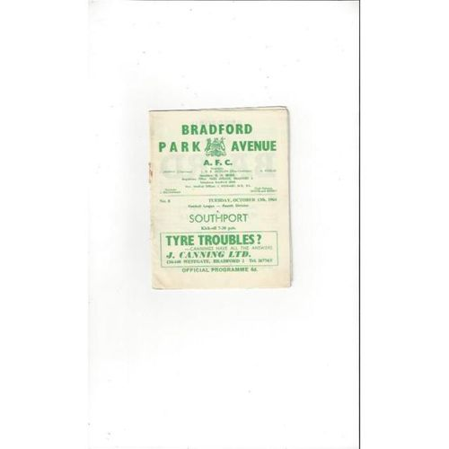 1964/65 Bradford Park Avenue v Southport Football Programme