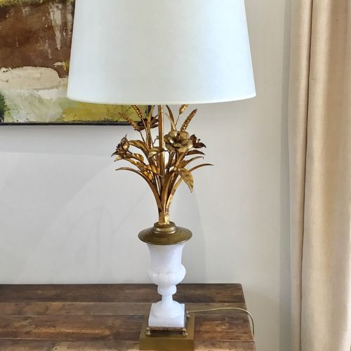 Large Mid Century tole and alabaster lamp