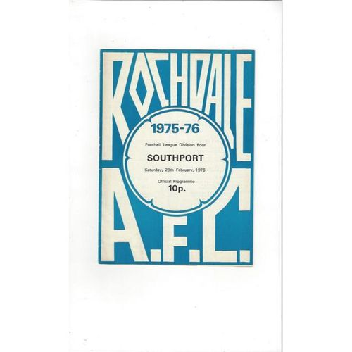 1975/76 Rochdale v Southport Football Programme