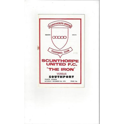 1975/76 Scunthorpe United v Southport Football Programme