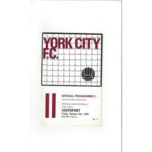 1970/71 York City v Southport Football Programme