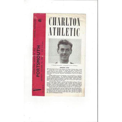 1960/61 Charlton Athletic v Portsmouth Football Programme