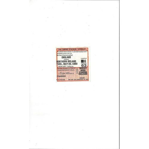 England v Northern Ireland Match Ticket Stub 1980