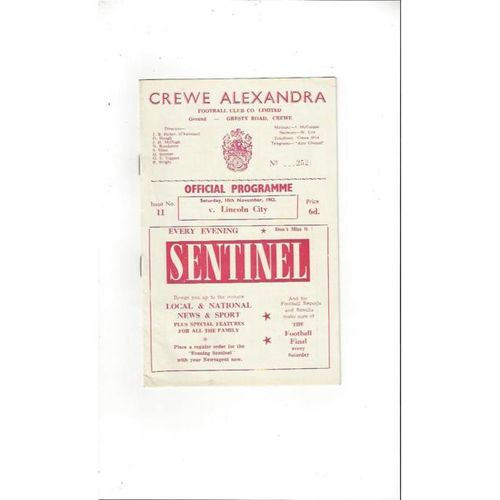 1962/63 Crewe Alexandra v Lincoln City Football Programme