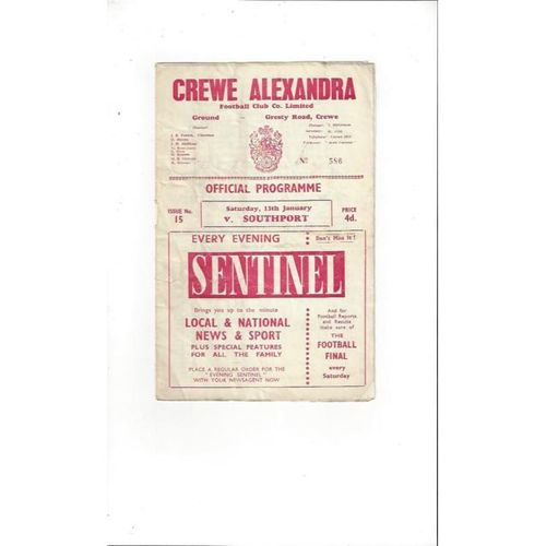 1961/62 Crewe Alexandra v Southport Football Programme