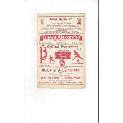 1964/65 Crewe Alexandra v Southport Football Programme