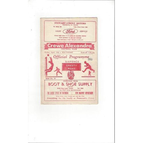 1965/66 Crewe Alexandra v Southport Football Programme