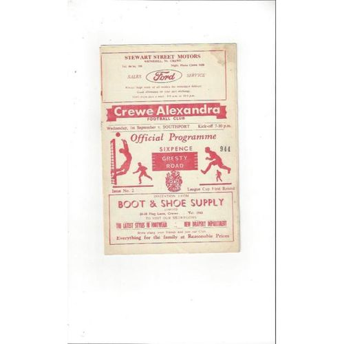 1965/66 Crewe Alexandra v Southport League Cup Football Programme