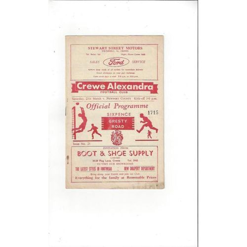 1966/67 Crewe Alexandra v Newport County Football Programme