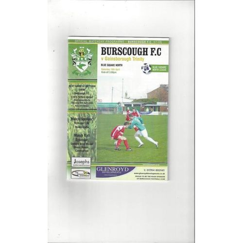 2007/08 Burscough v Gainsborough Trinity Football Programme
