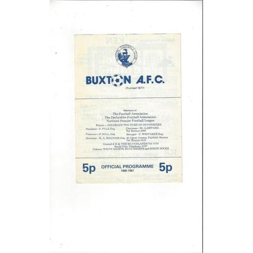 1981/82 Buxton v Southport Football Programme