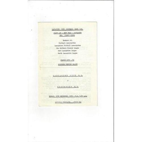 1979/80 Lancaster City v Southport Football Programme