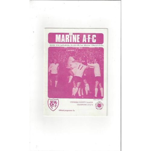 1976/77 Marine v Kirkby Town Lancashire Junior Cup Football Programme