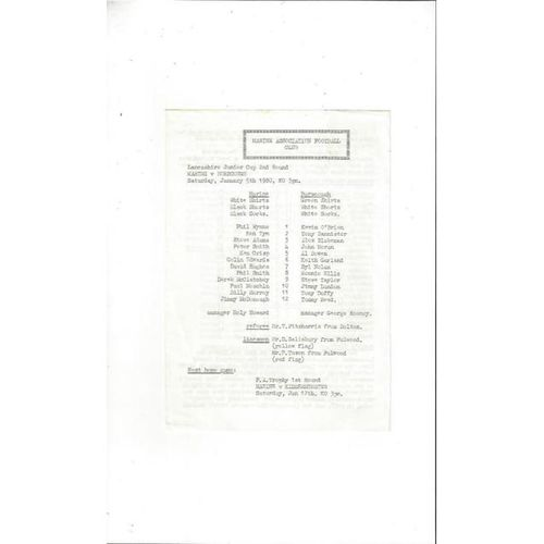 1979/80 Marine v Burscough Lancashire Jnr Cup Football Programme