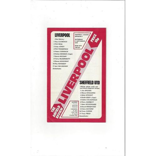 1975/76 Liverpool v Sheffield United Football Programme