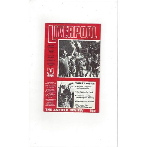 1977/78 Liverpool v Leicester City Football Programme