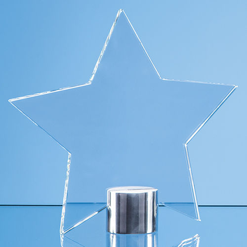 Clear Glass Star Mounted on a Brushed Aluminium Base - 11.5cm