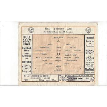 1949/50 Hull City v Barnsley Football Programme