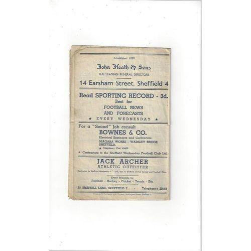 1947/48 Sheffield Wednesday v Barnsley Football Programme