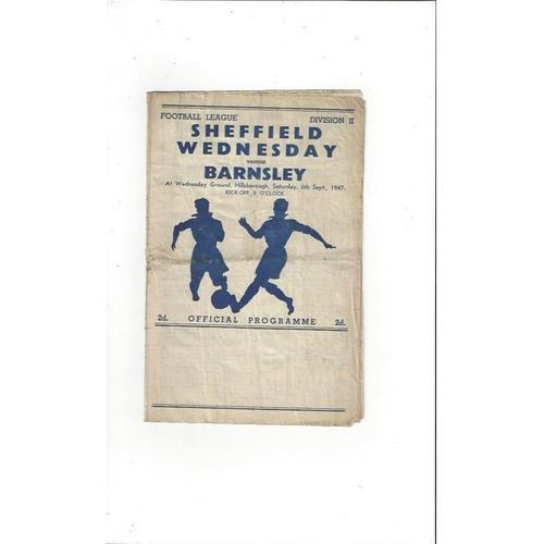1947/48 Sheffield Wednesday v Barnsley Football Programme