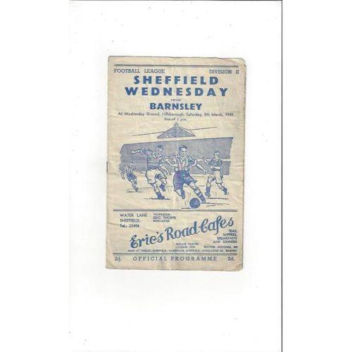 1948/49 Sheffield Wednesday v Barnsley Football Programme