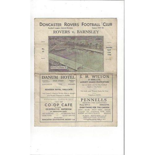 1947/48 Doncaster Rovers v Barnsley Football Programme