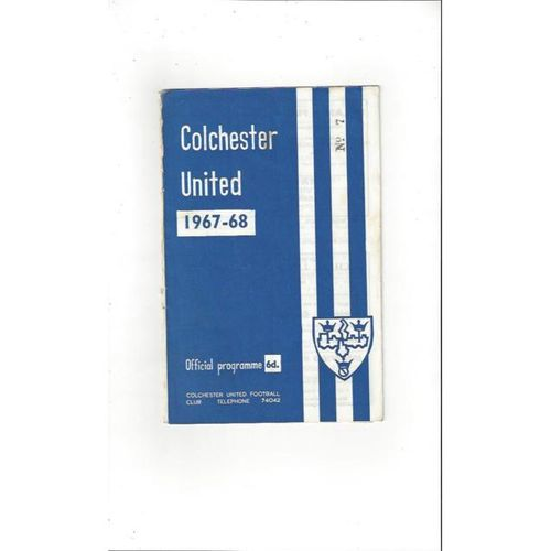 1967/68 Colchester United v Southport Football Programme