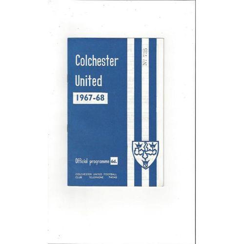 1967/68 Colchester United v Watford Football Programme