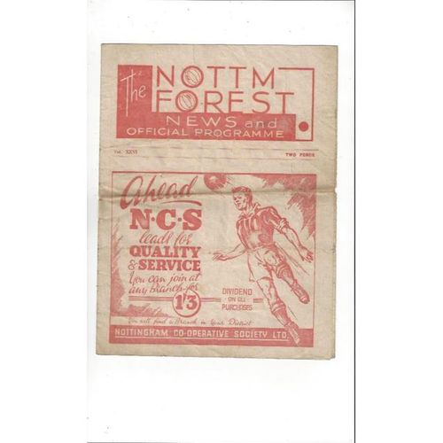 1946/47 Nottingham Forest v Barnsley Football Programme