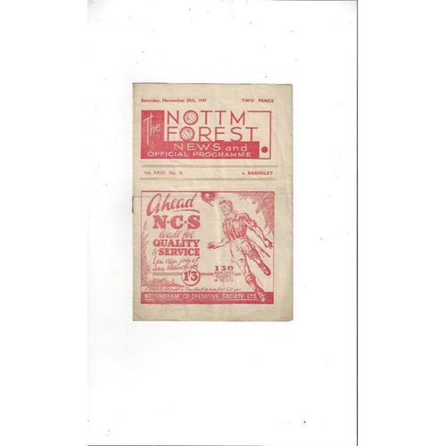 1947/48 Nottingham Forest v Barnsley Football Programme