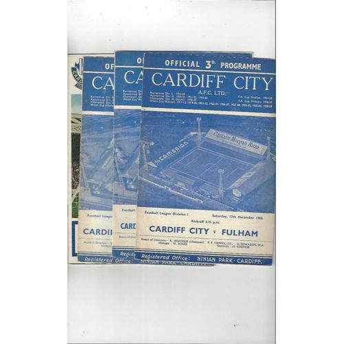 4 Cardiff City Home Football Programmes 1960/61 - 1969/70