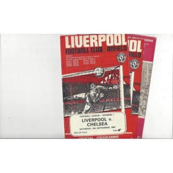3 x Liverpool Home Football Programmes 1967/68 - 1969/70