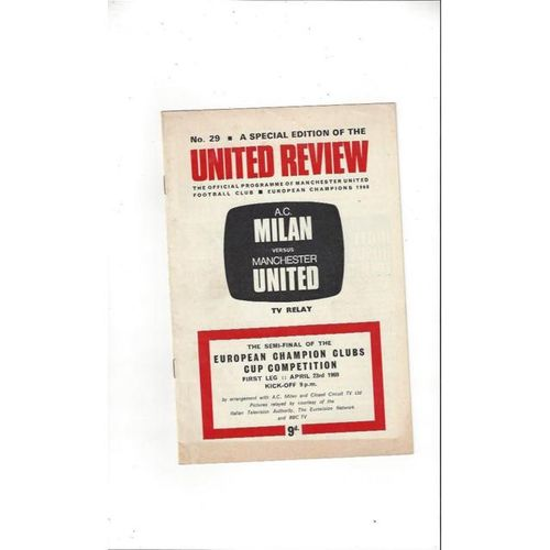 1969 AC Milan v Manchester United European Cup Semi Final TV Relay Programme