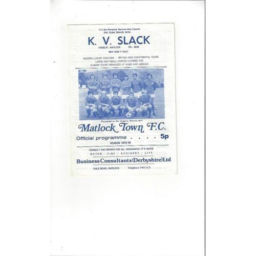 1979/80 Matlock Town v Southport Football Programme