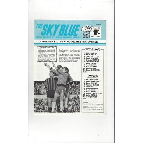 1969/70 Coventry City v Manchester United Football Programme